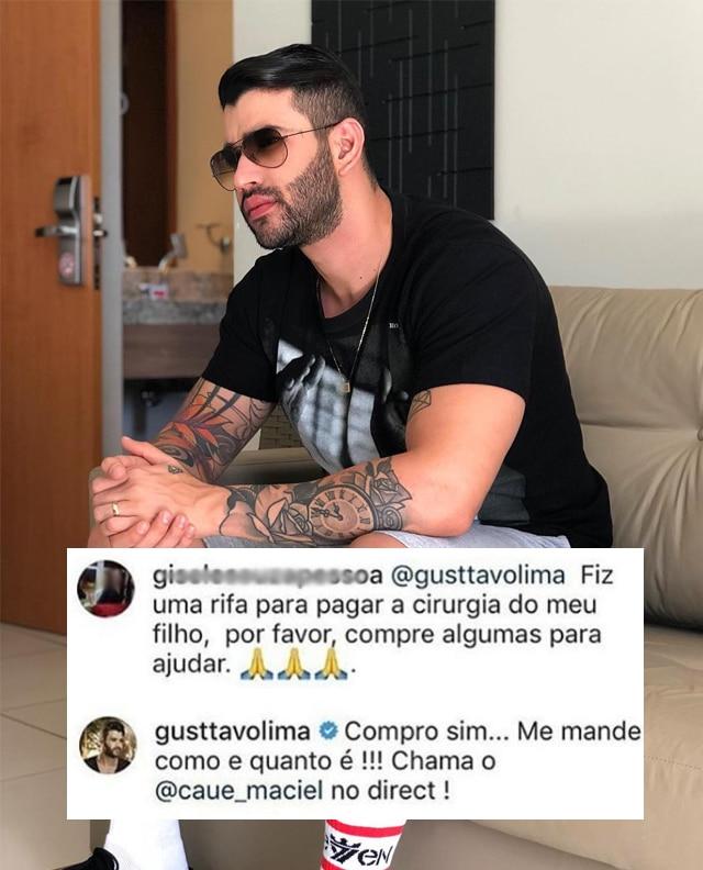 Ela pediu ajuda para Gusttavo Lima comprar uma rifa na cirurgia do filho e ele surpreendeu ao responder